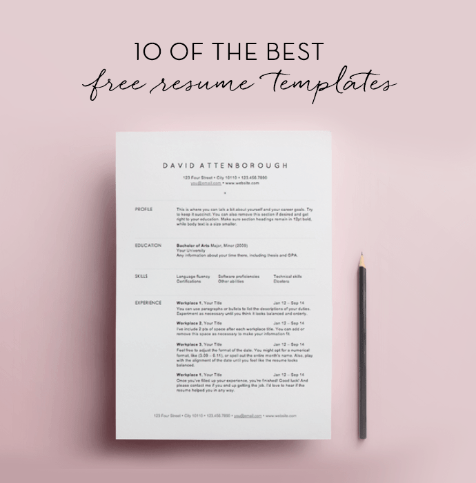 31 Tips On How To Write A Cover Letter The Muse 10 Free Resume Templates Grafisk Design Og Design