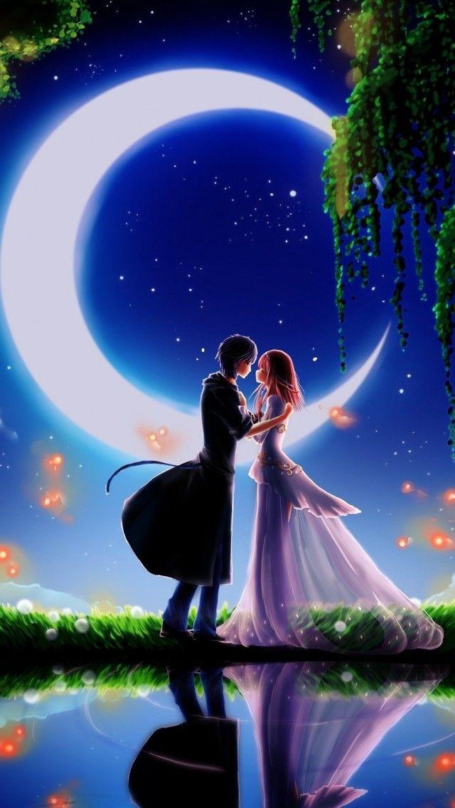 Zedge Cute Love Couple Wallpaper Girl And Boy In Moonlight 3d Wallpaper Love Pinterest