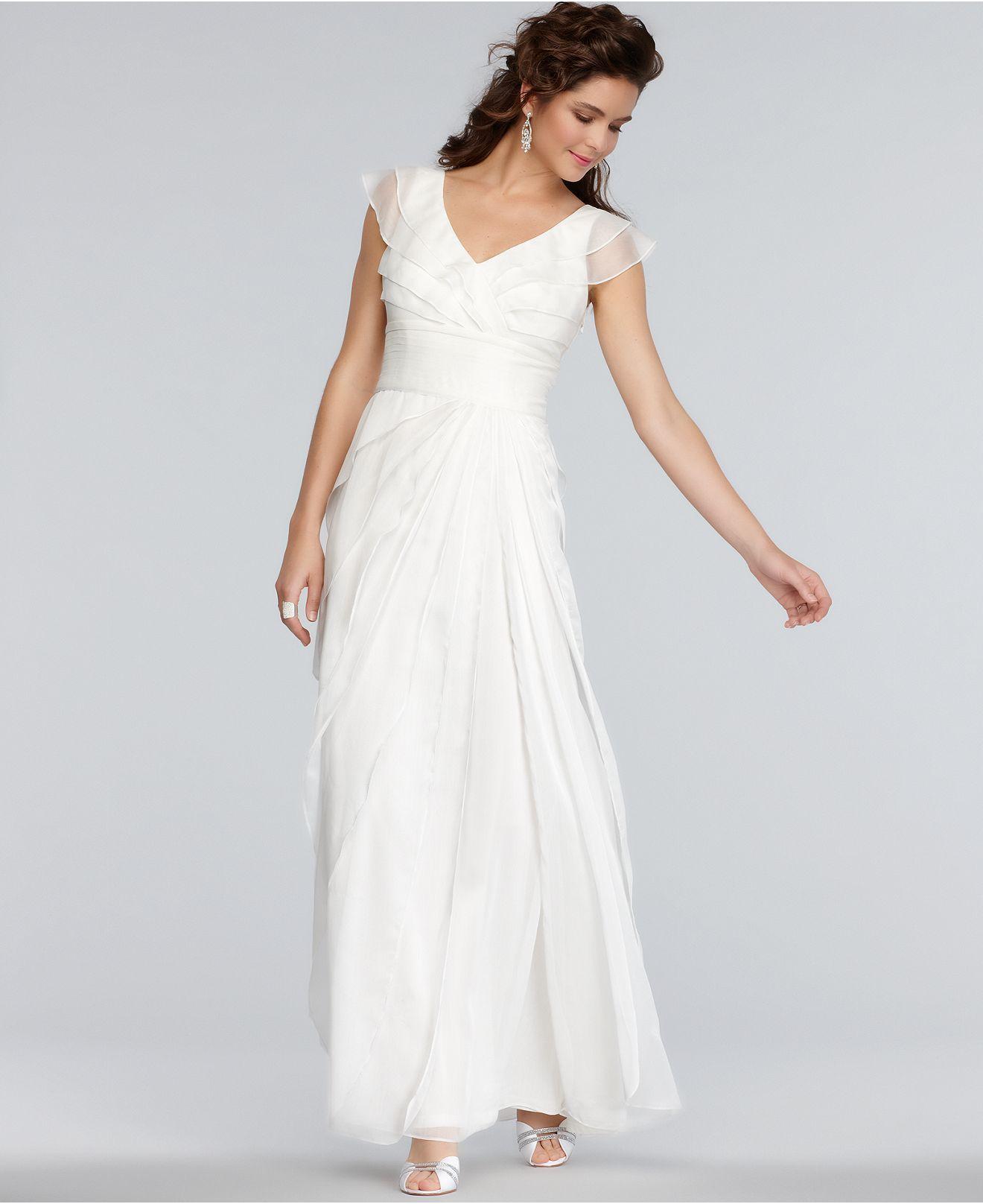 macy's wedding dresses Adrianna Papell Dress Cap Sleeve Pleated Empire Waist Tiered Gown Shop all Wedding Dresses Women Macy s