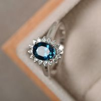London blue topaz ring, sterling silver, blue gemstone ...