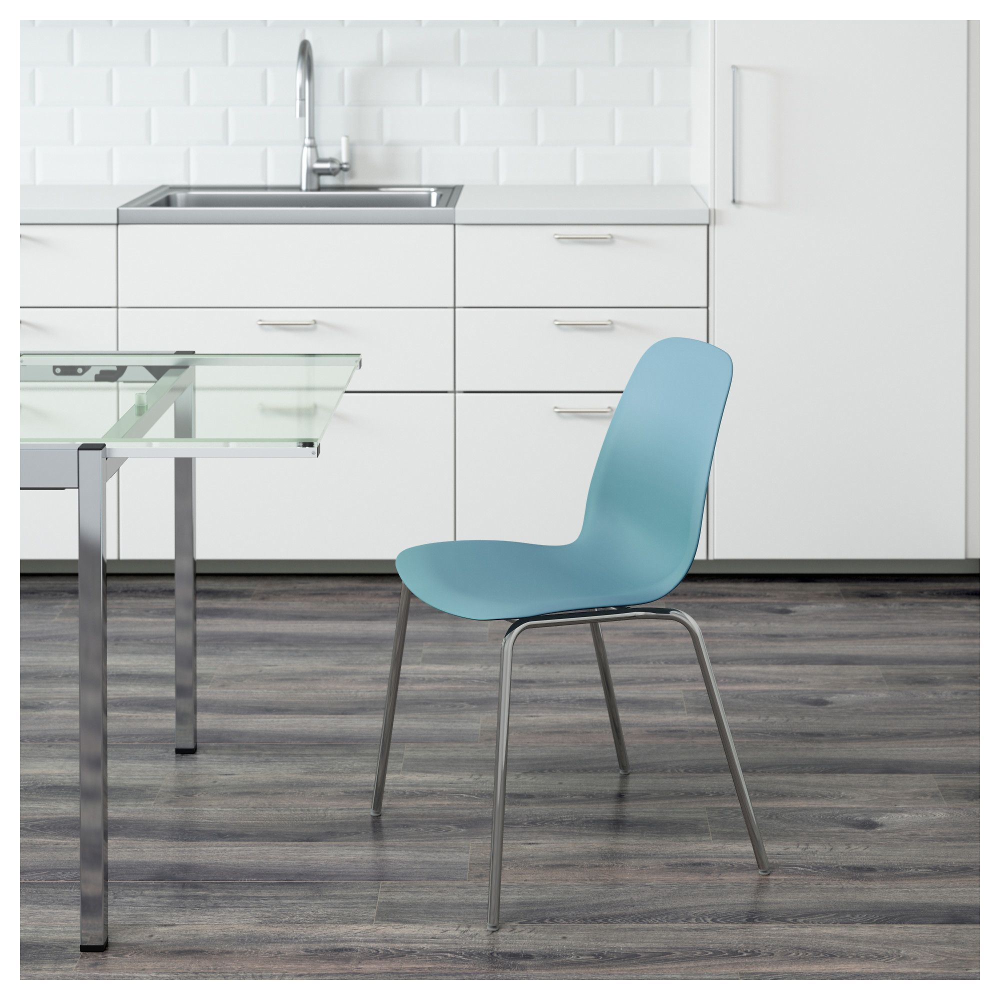 teal kitchen chairs LEIFARNE Chair Light blue broringe chrome plated Teal KitchenKitchen