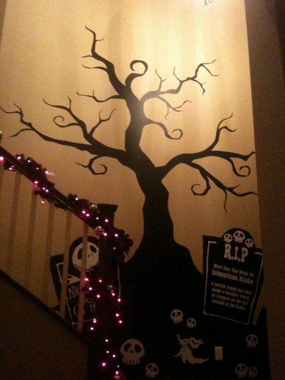 Halloween Creepy Tree Wall Decal Nightmare Before By Pinktoblue   Nightmare  Before Christmas Wall Decor