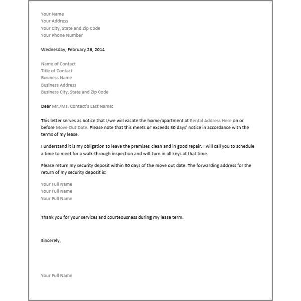 Printable Sample 30 Day Notice To Vacate Letter Form Real Estate - notice form in word
