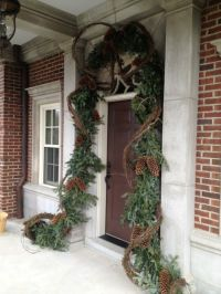 Christmas front door & entry decor - evergreen garland ...