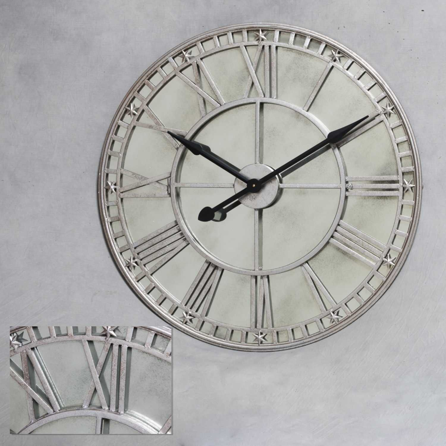 Statement Wall Clocks London Large Round Silver Wall Clock With Antiqued Mirror