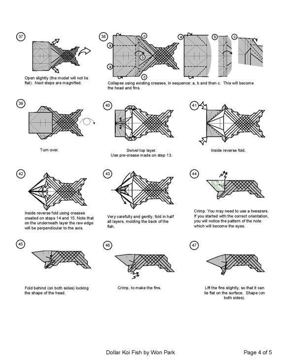 koi fish diagram 5 of 5 money origami dollar bill art origami