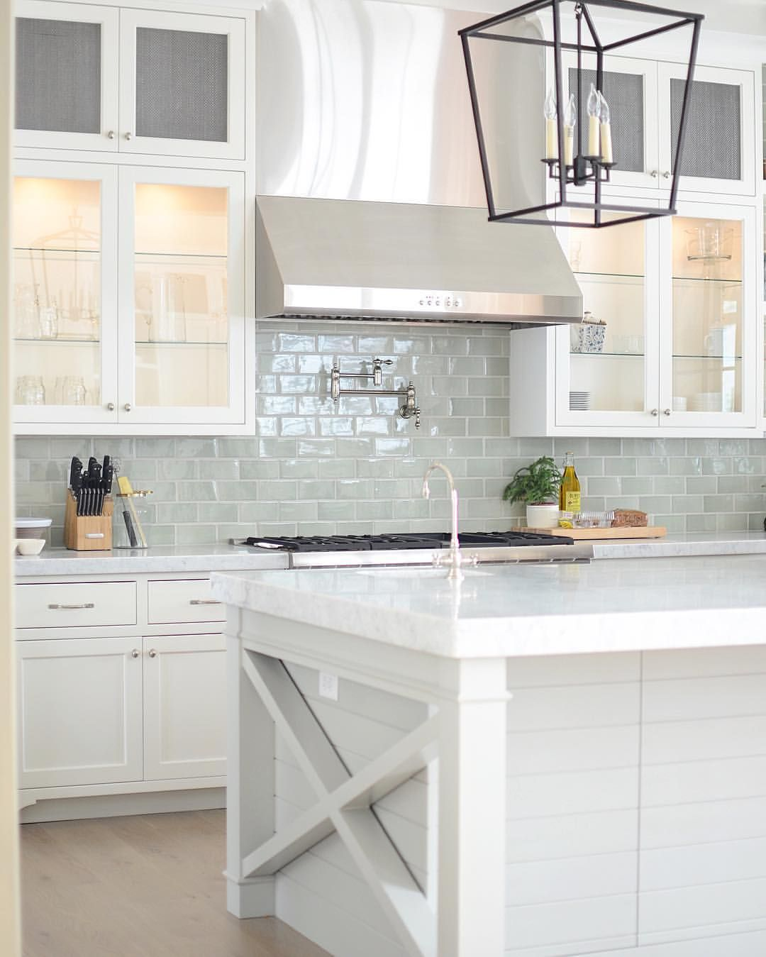 Backsplashes For White Kitchens Bright White Kitchen With Pale Blue Subway Tile Backsplash
