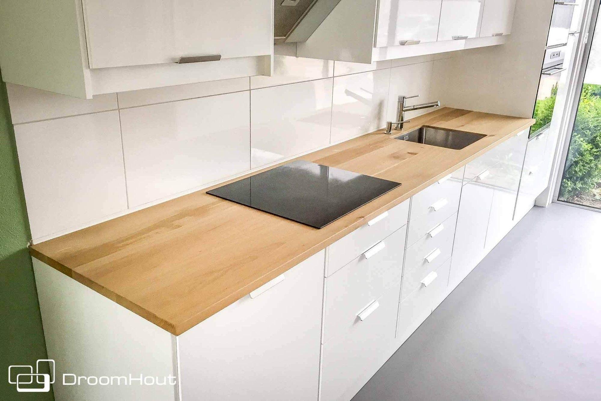 Houten Werkblad Keuken : Duurzame design keuken restylexl met houten werkblad en omlijsting