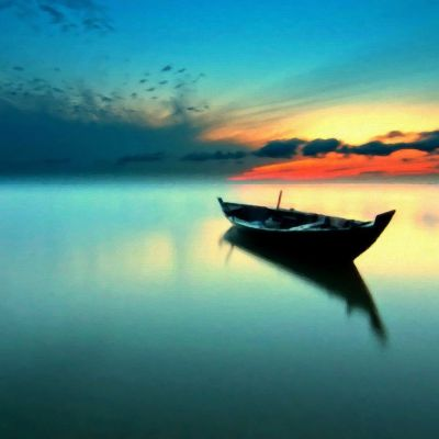 Calm Lake Boat Painting iPad Wallpaper HD | Places to Visit | Pinterest | Boat painting, Boating ...