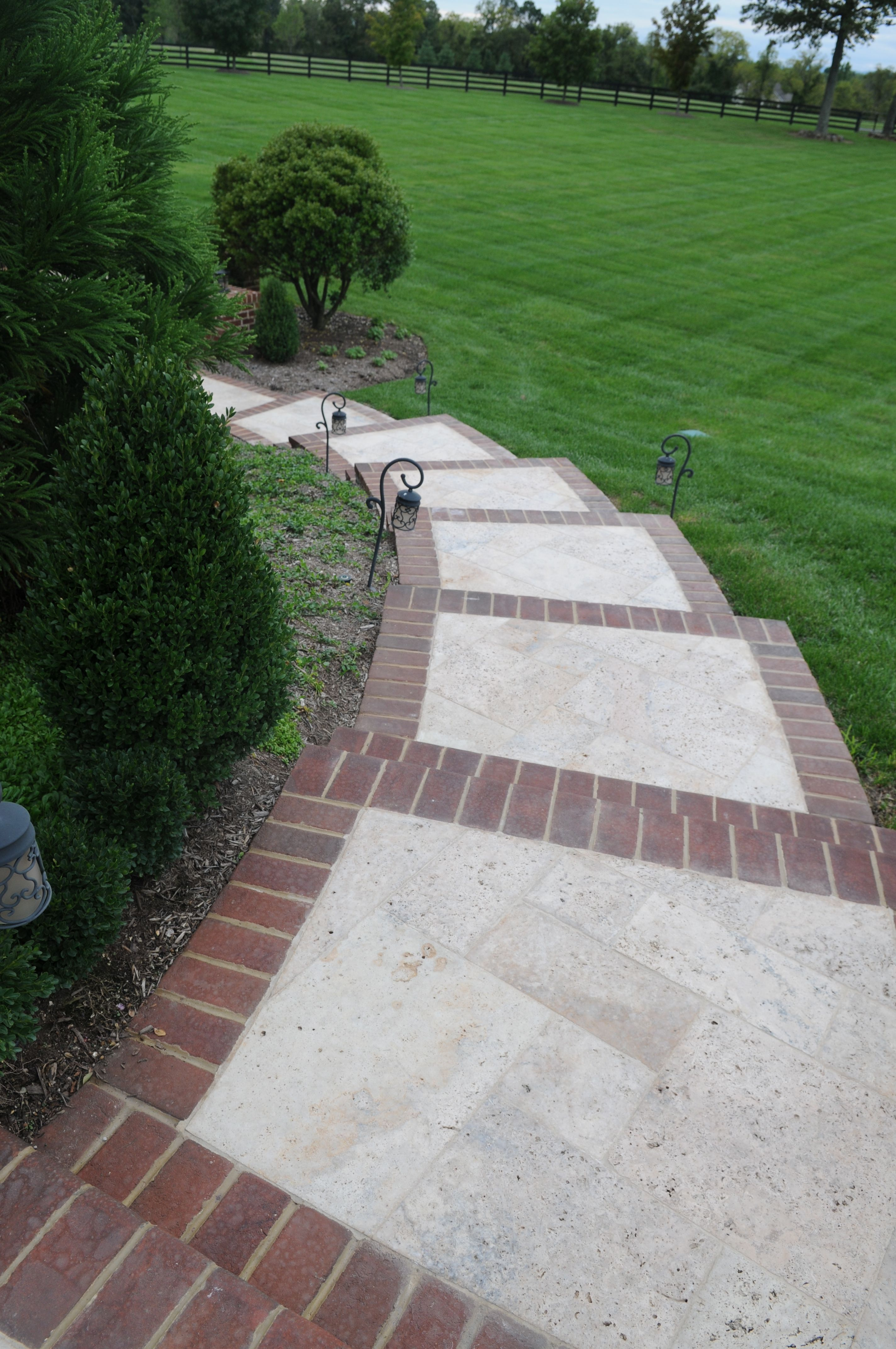 Brick inlay sidewalk idea for front service walk and steps