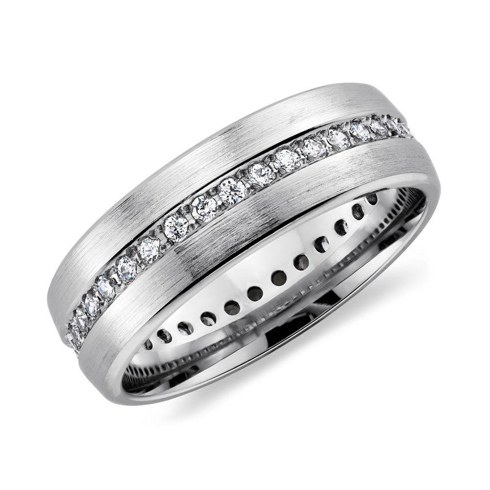 wedding ring mens Brushed Diamond Eternity Men s Wedding Ring in Platinum