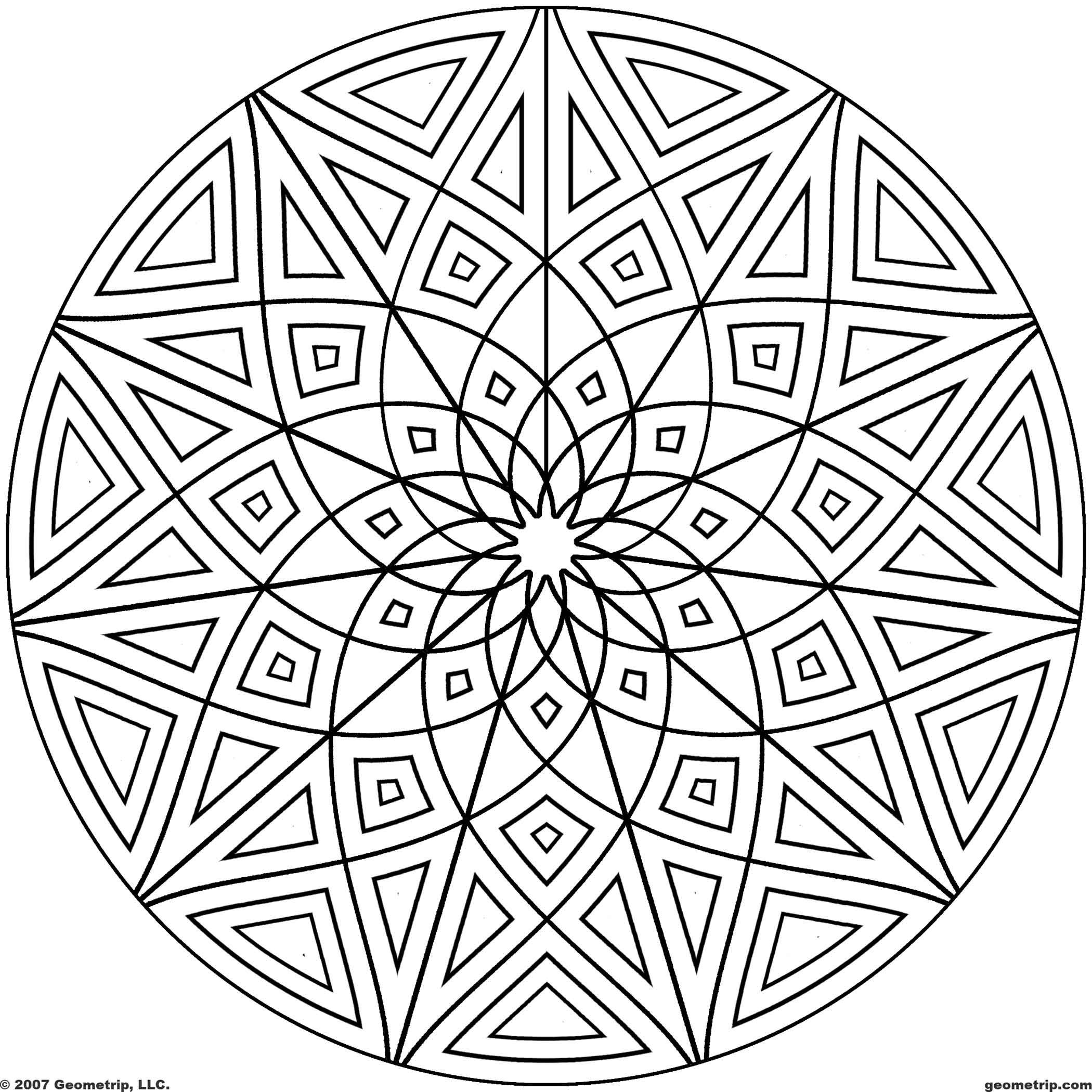 Kaleidoscope coloring pages geometrip com free geometric coloring designs circles