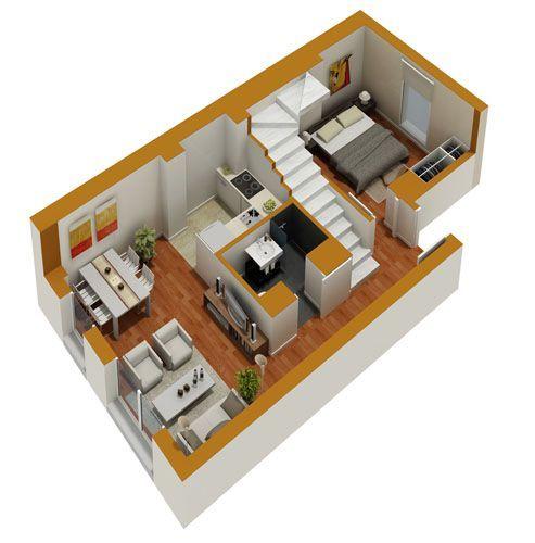 Tiny House Floor Plans Small residential unit 3d floor plan 3D - 3d house plans