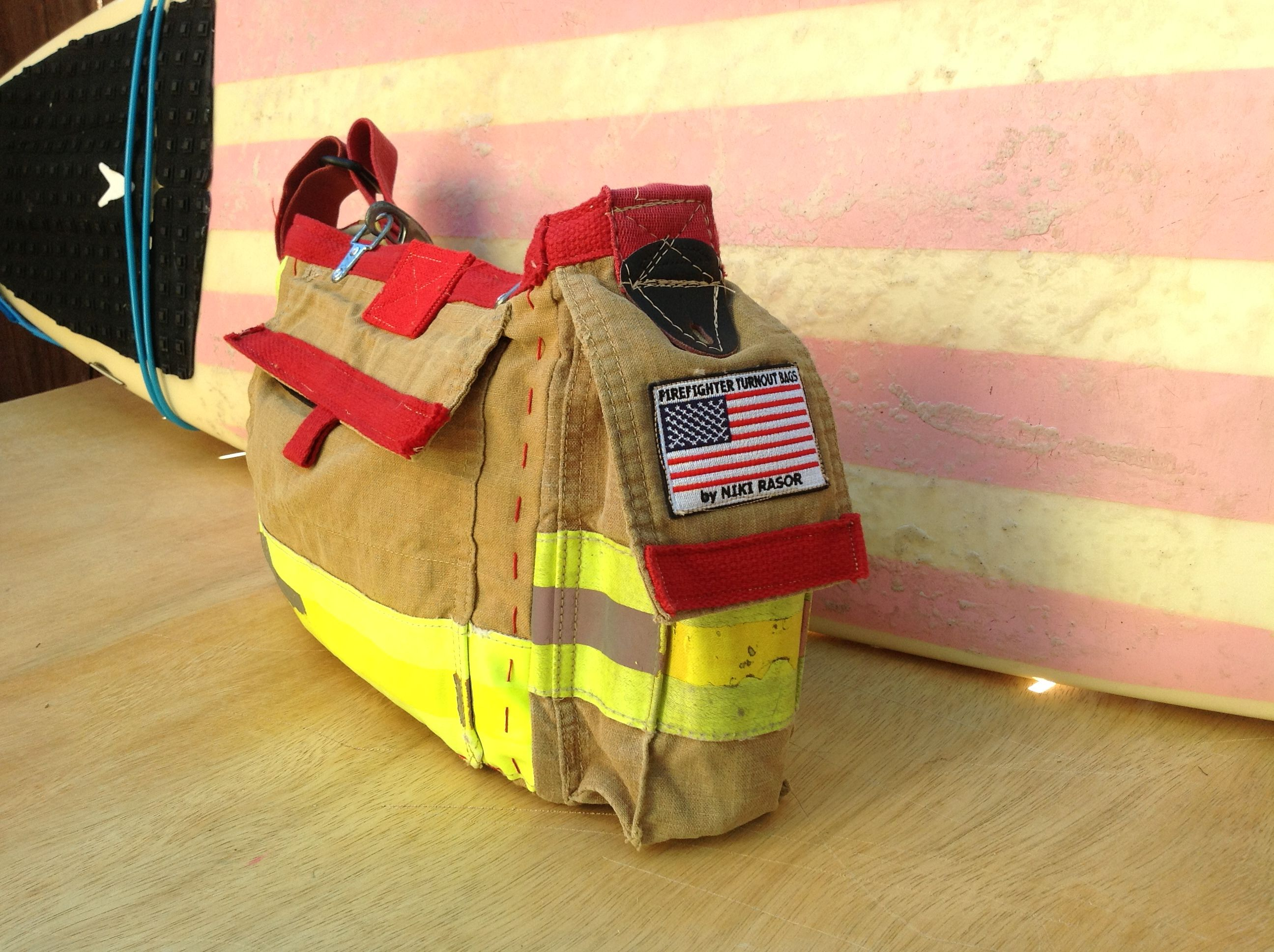 Leather bottom firefighter turnout bag made from recycled firefighter