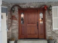 rustic home exterior - wood front door with side windows ...