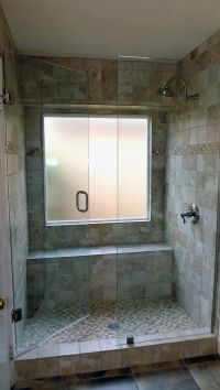 tile-bathroom-design-with-glass-shower-door-and-tub-to ...