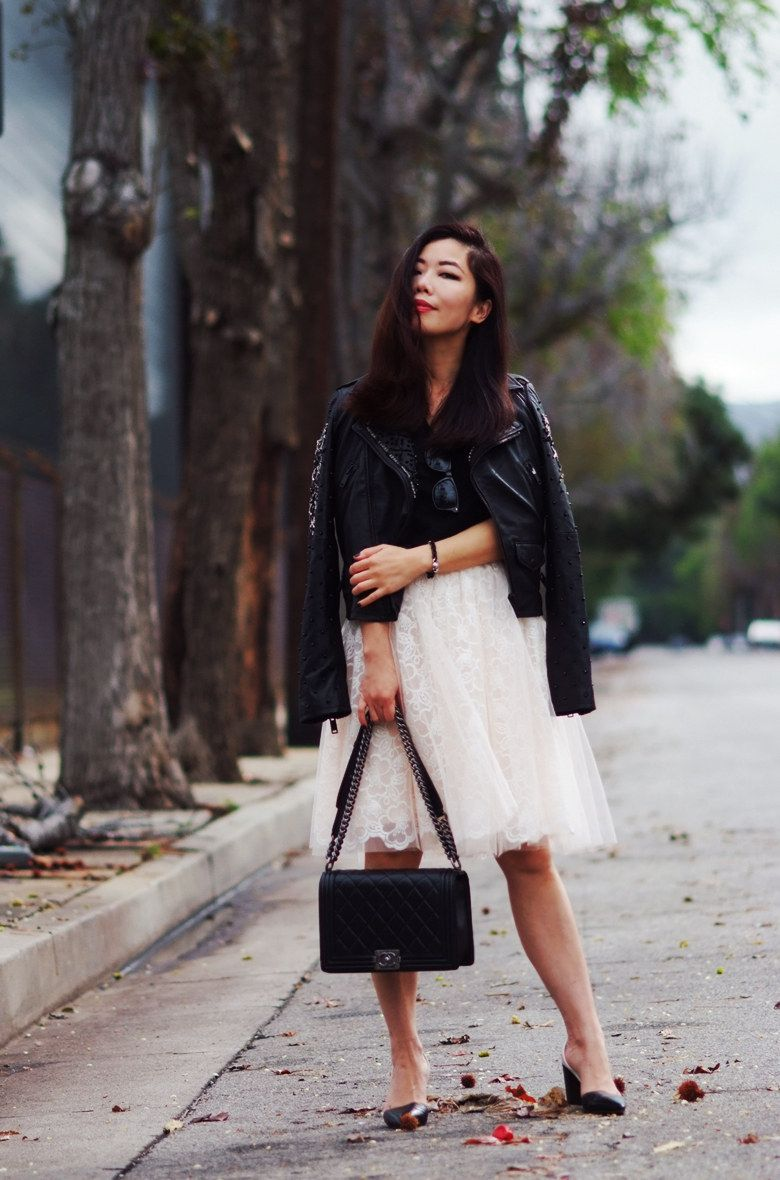 Halliedaily edgy meet romantic leather jacket and tulle skirt