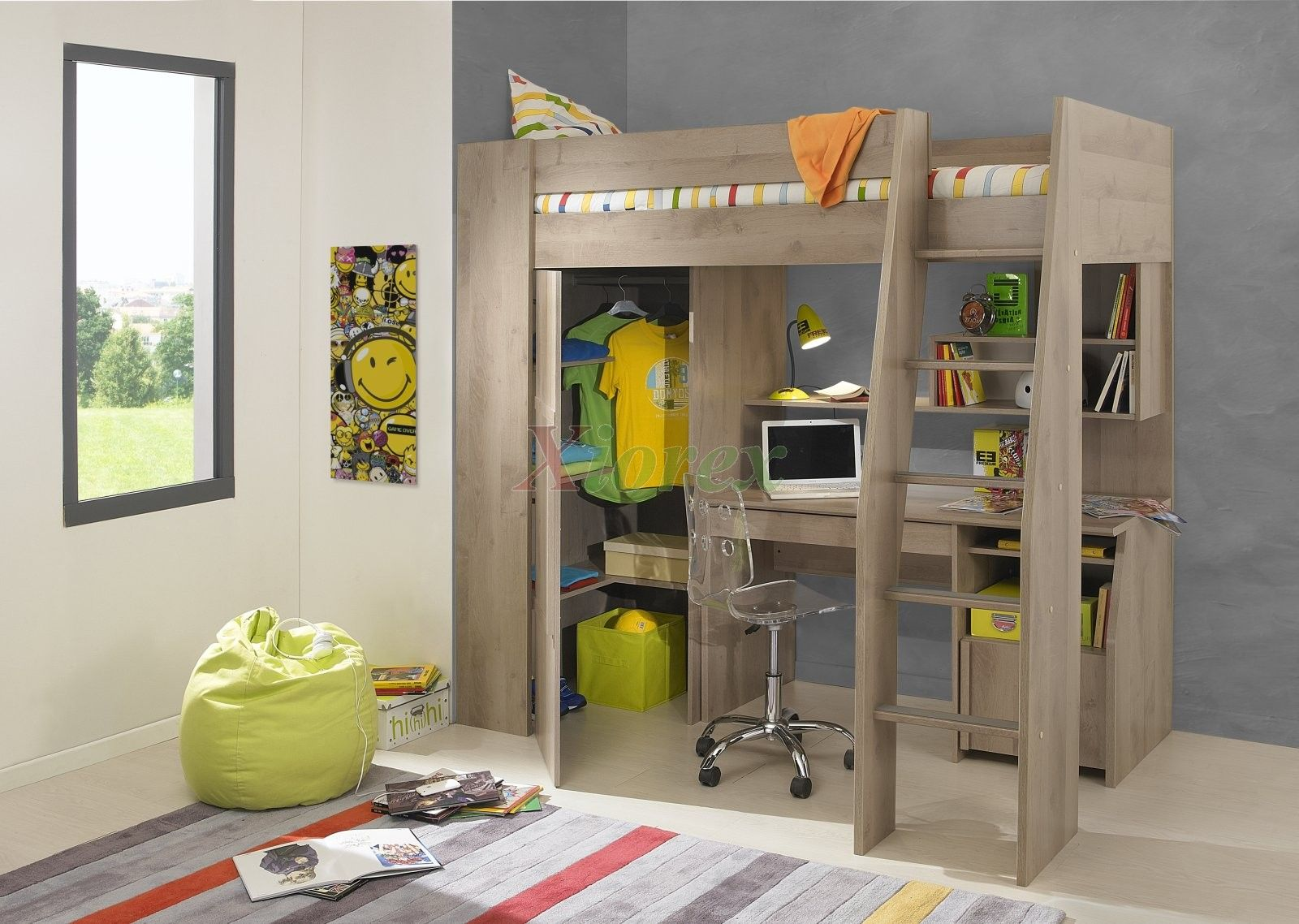 Timber kids loft bunk beds with desk closet gautier gami furniture this beautiful loft bed