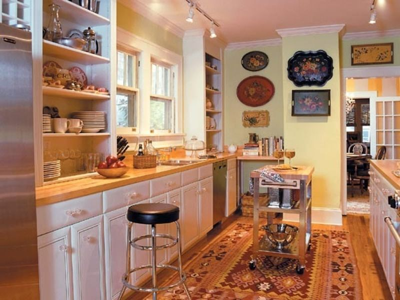 I like the colours and open shelving in this kitchen I like - small galley kitchen design