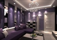 purple walls | Purple walls and purple sofa for living ...