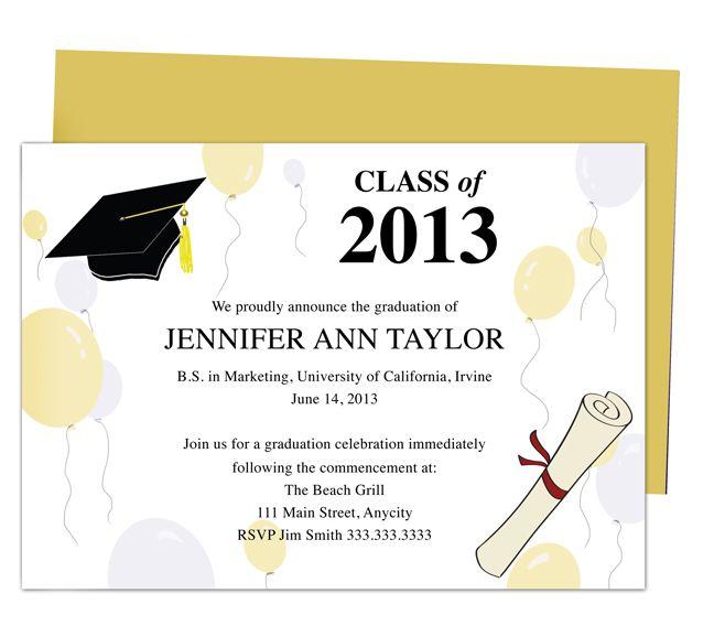 Printable DIY Templates For Grad Announcements  Partytime - graduation invitation template