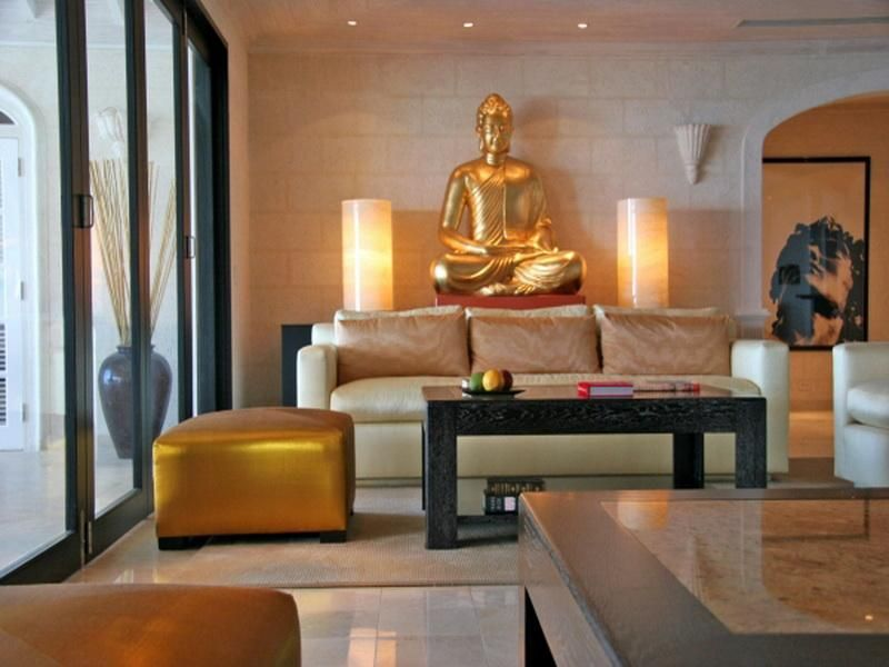 Elegant Zen Living Room with Gold Buddha Statue Decor Stupic - living room statues