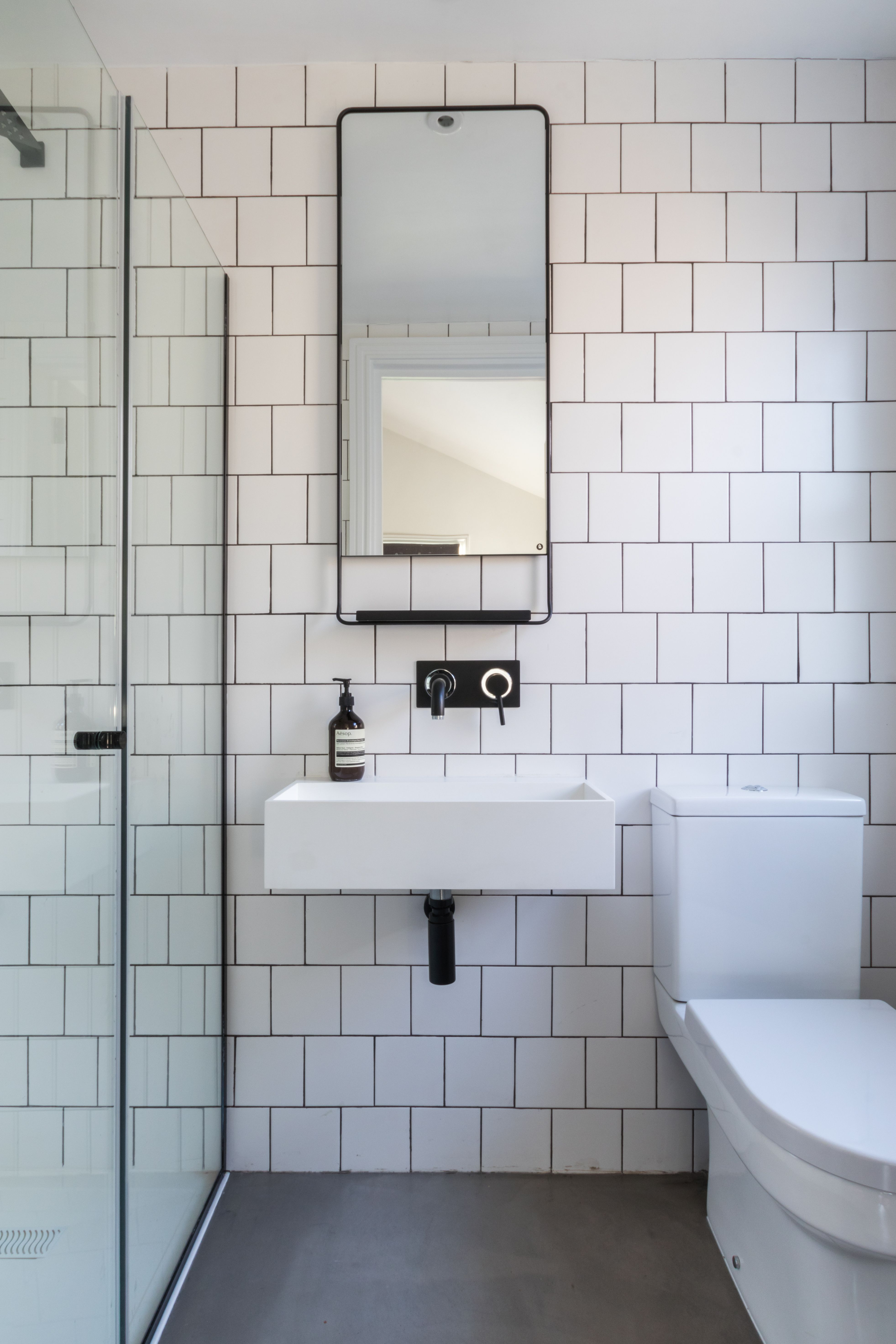 Industrial Shower Bathroom Black And White Bathroom Industrial Luxe