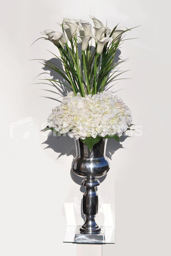 Impressive Tall White Calla Lilies Silver Urn Display #silk - silk arrangements for home decor