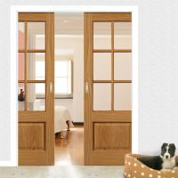 Dove Oak Double Pocket Doors - Clear Glass | Sliding door ...