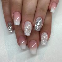 French Ombre med Diamond ovh silverflakes | Nails ...