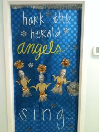 Door decorating contest for Christmas at work. Our door