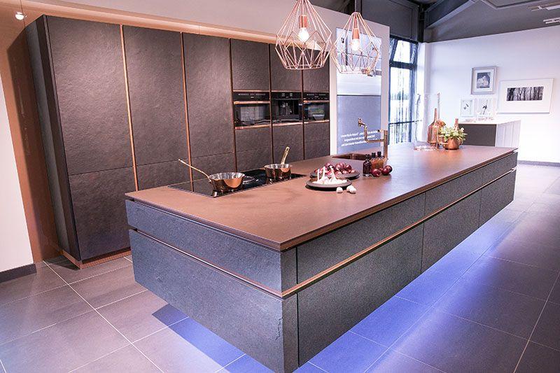 Moderne Küche Kochinsel Holz Optik Beige Hochglanz Fronten   Moderne  Schroder Kuchen