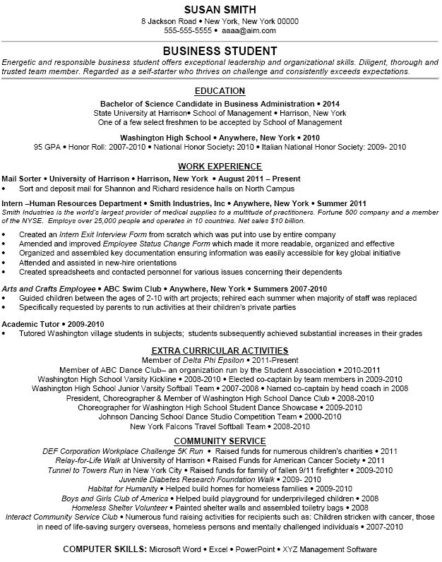 extracurricular activities resume examples
