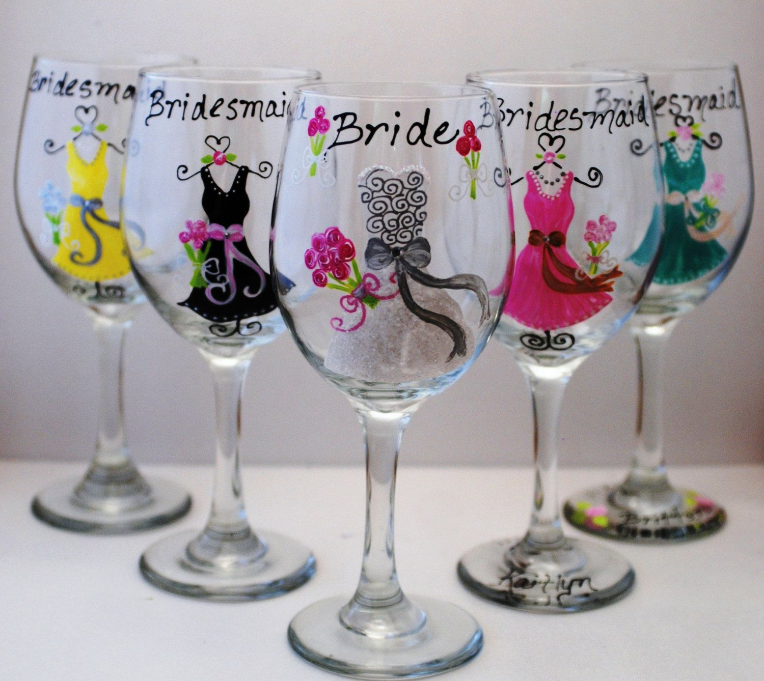 Wine Glass Ideas Bridesmaid Gift Idea Hand Painted Yellow Grey Purple Pink