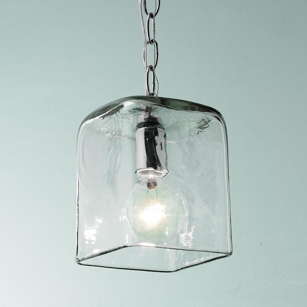 Kitchen Pendant Lighting Glass Shades Small Square Glass Pendant Light With Chain Glass