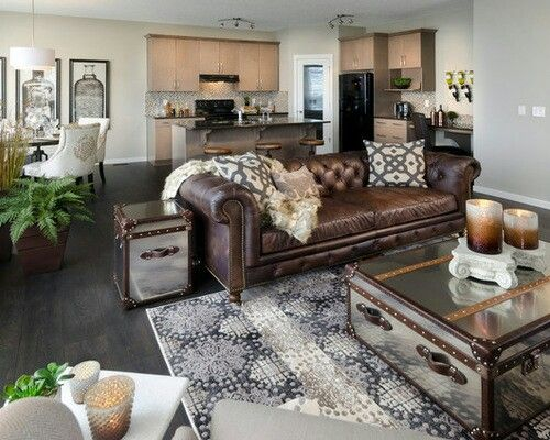 Decor around distressed leather sofa Decor ideas Pinterest - brown leather couch living room