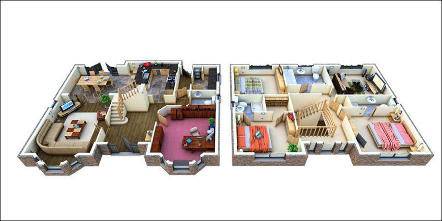 Remarkable 3d 2 Story Floor Plans On Apartments W Home♥Plans - 3d house plans