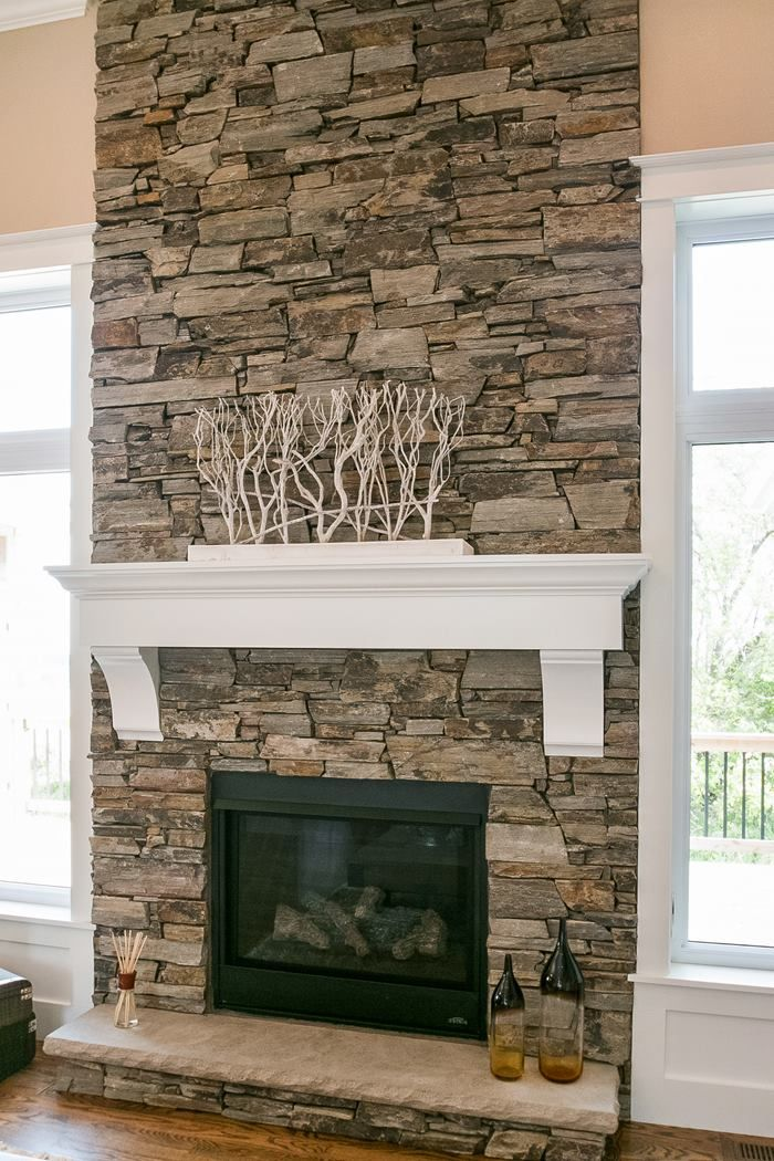 dry stacked stone fireplace