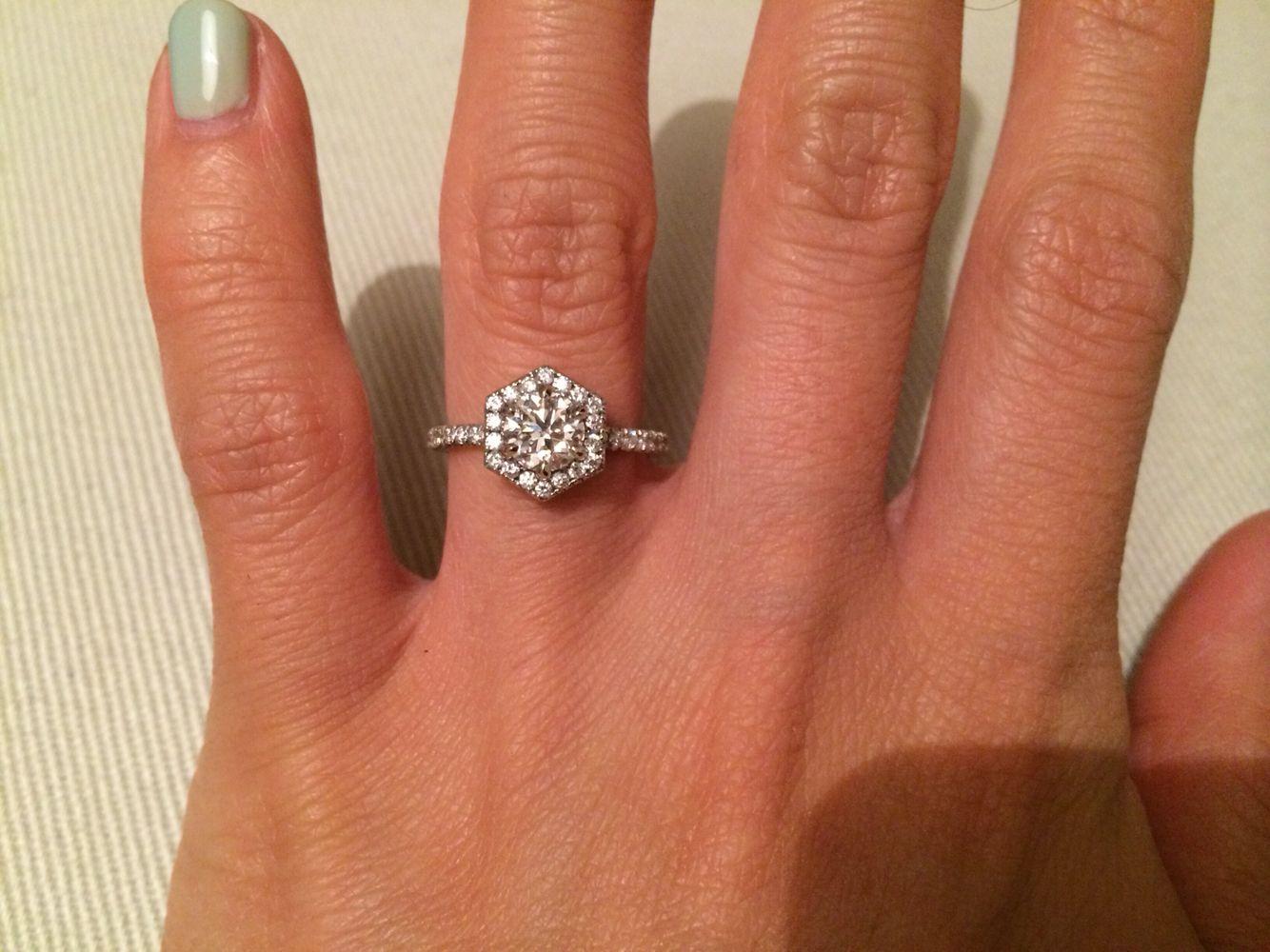 hexagon engagement ring brilliant earth wedding bands Custom made hexagon halo engagement ring