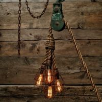 The Hydra Chandelier - Industrial Manila Rope Pendant ...