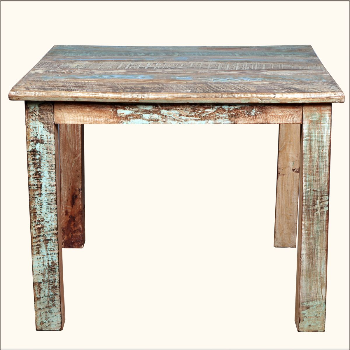 """Rustic Reclaimed Wood Distressed 40"""" Square Kitchen Dining"""