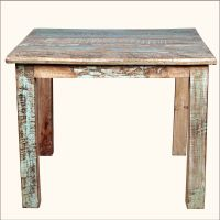 "Rustic Reclaimed Wood Distressed 40"" Square Kitchen Dining"