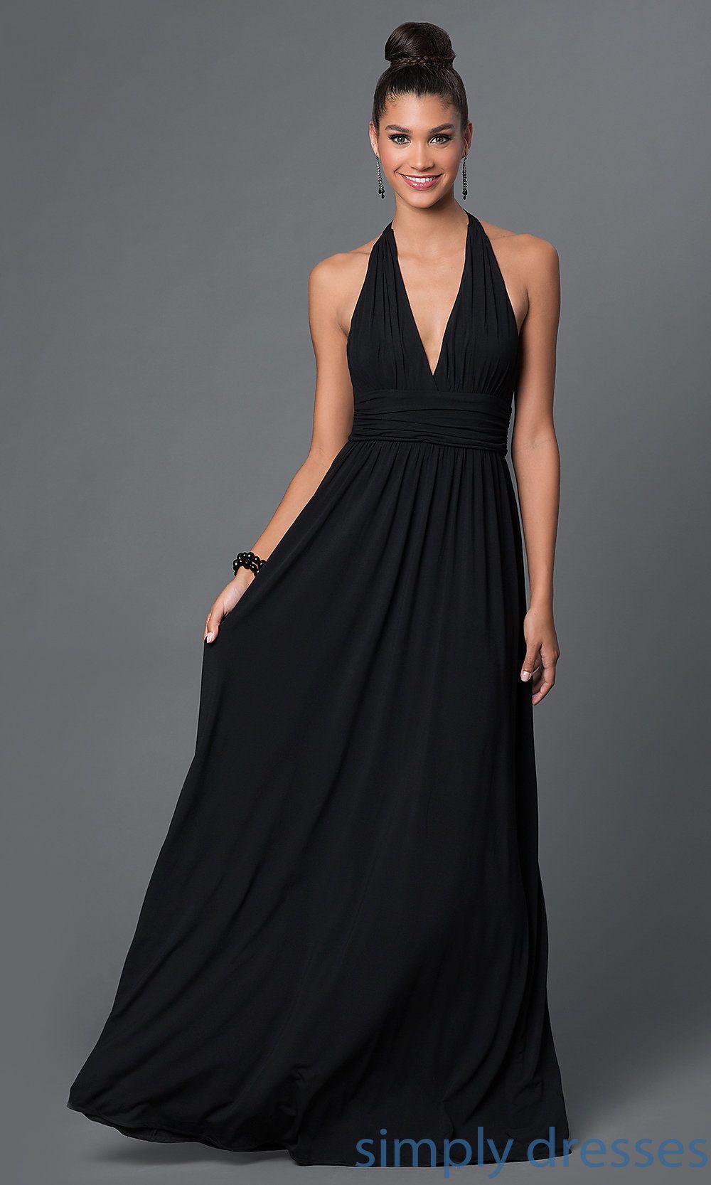 √ Long Black Formal Halter Dress 21b9b6924
