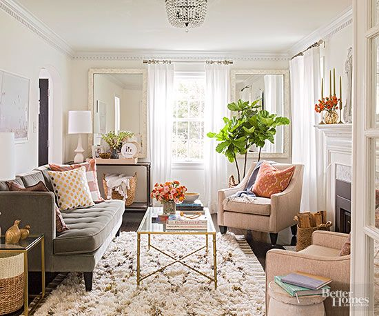 Small-Room Solutions Living Rooms Wall trim, Sheer curtains and - small scale living room furniture