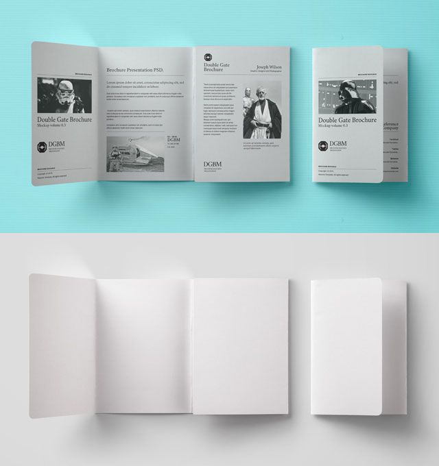 Double Gate Fold Brochure Mockup Mockups PSD Templates for - gate fold brochure mockup