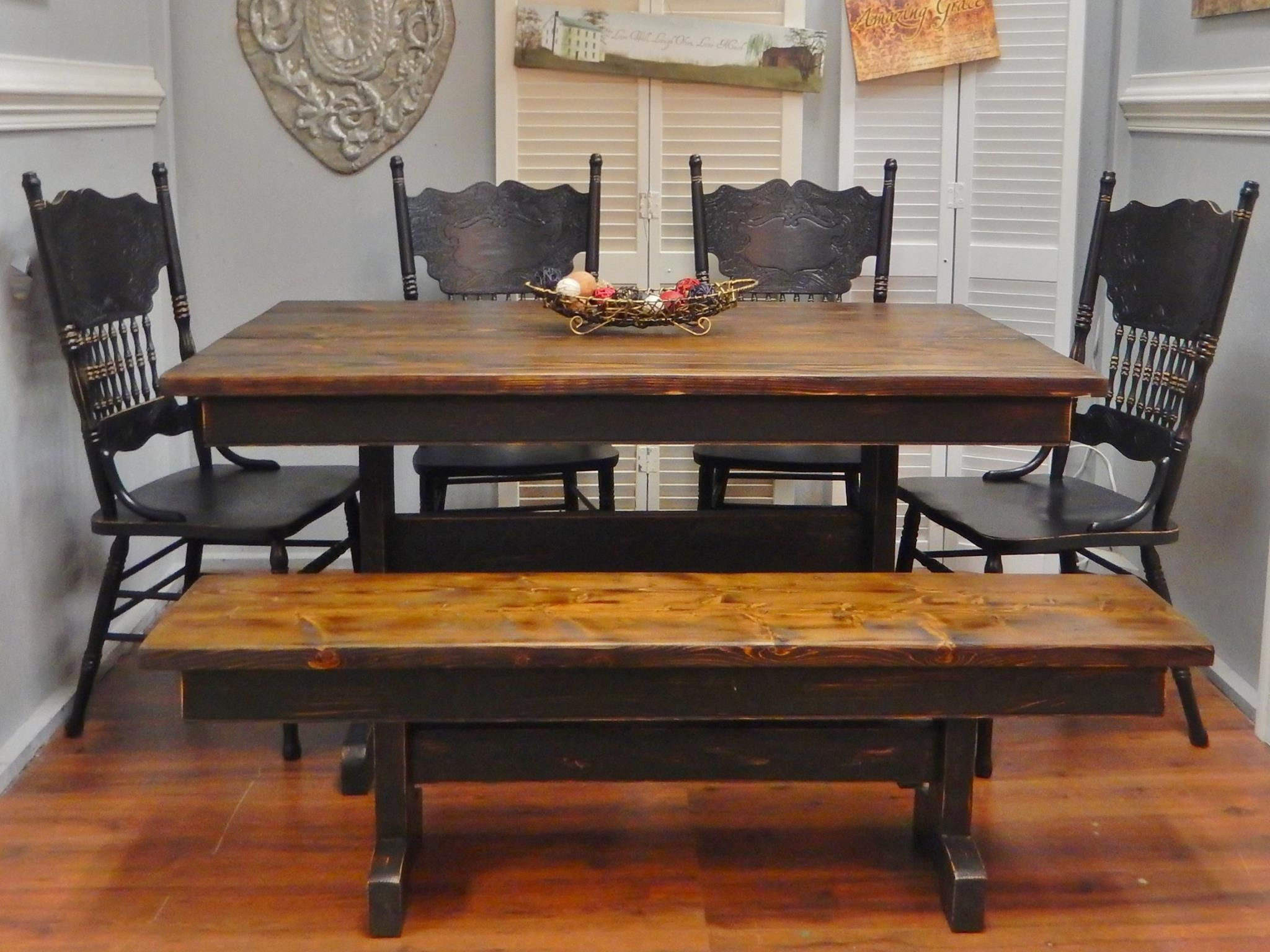 Black Farmhouse Table With Bench Charming Handcrafted Trestle Farm Table Black With