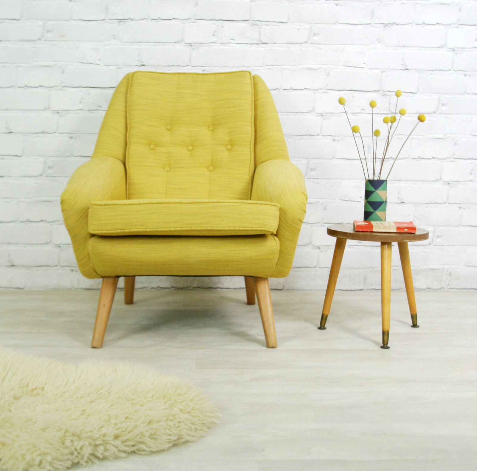60s Style Couches Vintage Retro Mid Century Mustard Danish Style Armchair