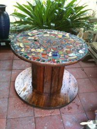 DIY Furniture - mosaic table, made from an old cable spool ...