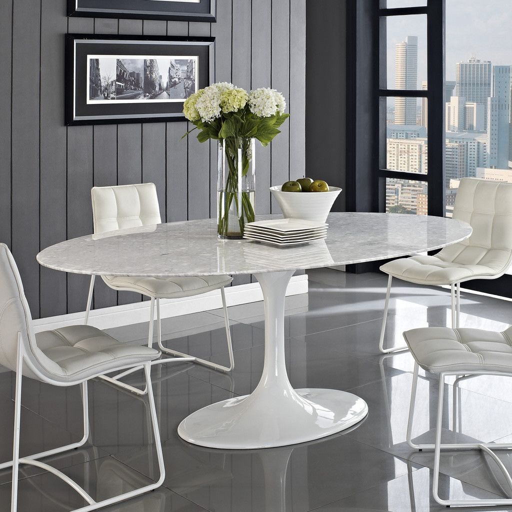 oval kitchen table Eero Saarinen Style Oval Tulip Marble Top Dining Conference Table 78 Contemporary