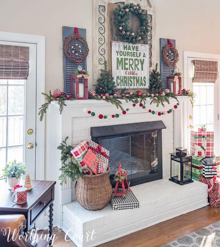 Christmas Mantels Around America - My Very Merry Farmhouse - christmas fireplace decor